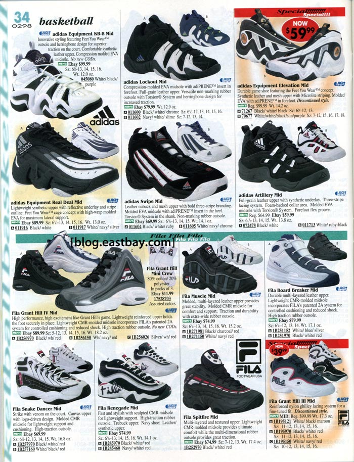 release date 83852 cebbb adidas and Fila Basketball Shoes 1998