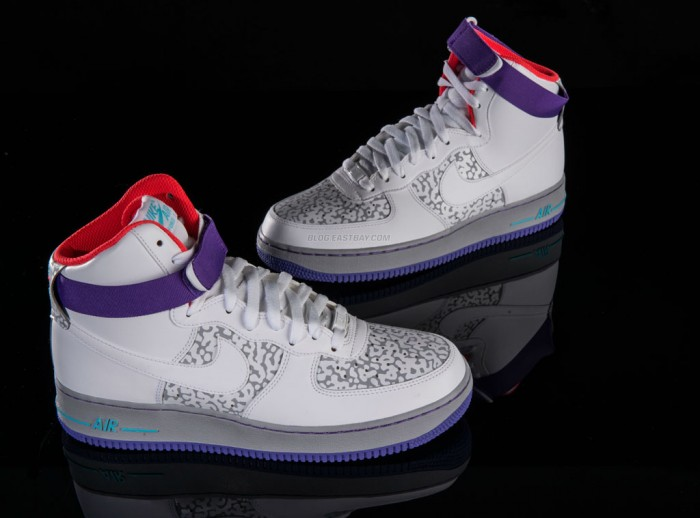 Nike Air Force 1 High White Wolf Grey Purple Venom Eastbay