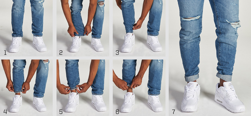Pinroll cuffed jeans paired with Nike Air Max 90 sneakers  sneaker color: white