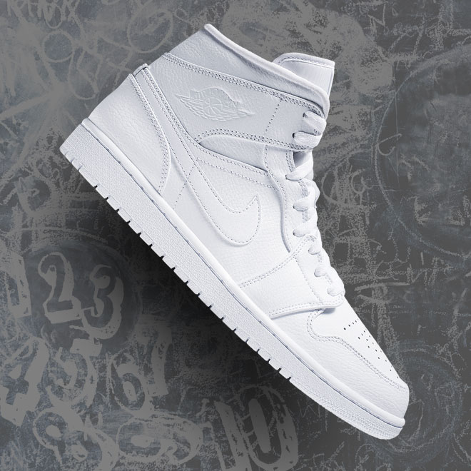 Men's Jordan Retro AJ1 Mid -- All White