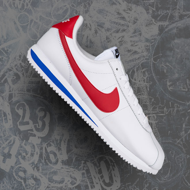 Men's Nike Cortez -- White, Varsity Royal, and Varsity Red