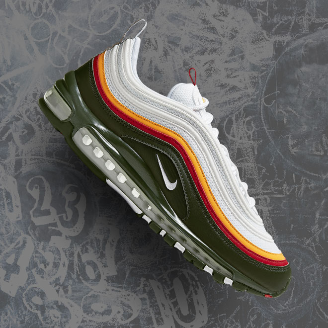 Men's Nike Air Max 97 -- White, Dynamic Yellow and Evergreen