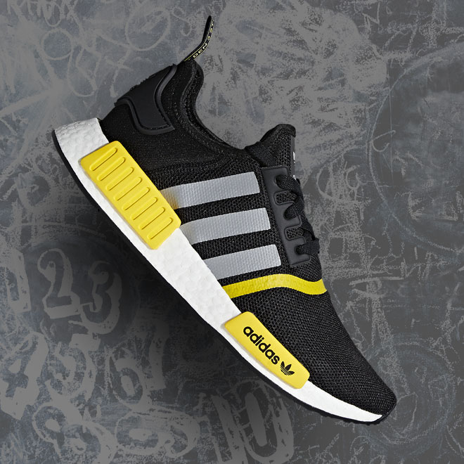 Men's adidas Originals NMD R1 -- Black, Silver, White and Yellow