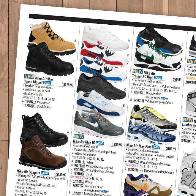 An old page of an Eastbay catalog showing different Nike Air sneakers and boots including Air Max 90.