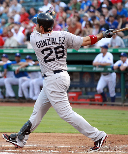 Adrian Gonzalez send one deep wearing his Nike player exclusives.