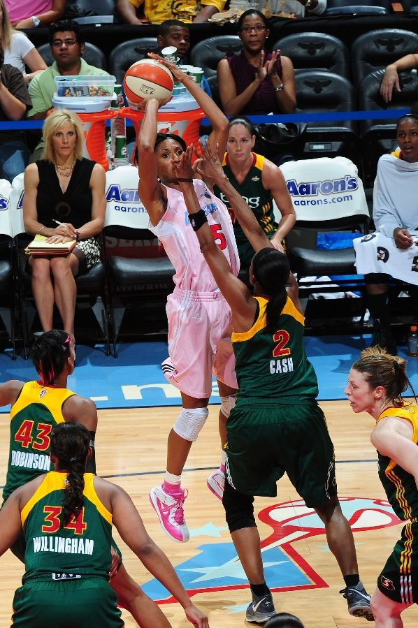 Angel McCoughtry wearing the Nike Air Max Soldier V