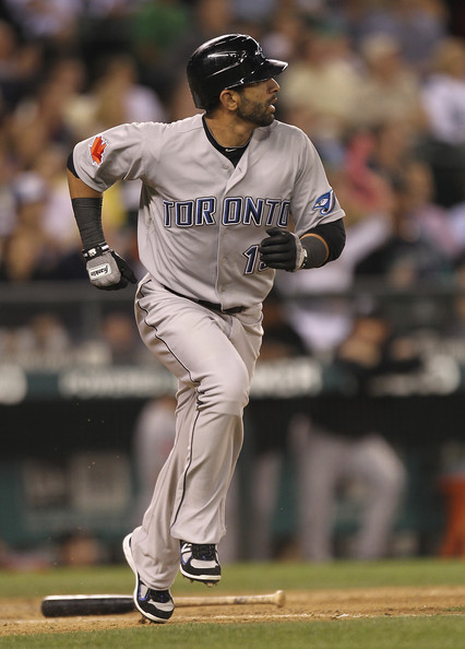 Jose Bautista wearing his player exclusive New Balance cleats.
