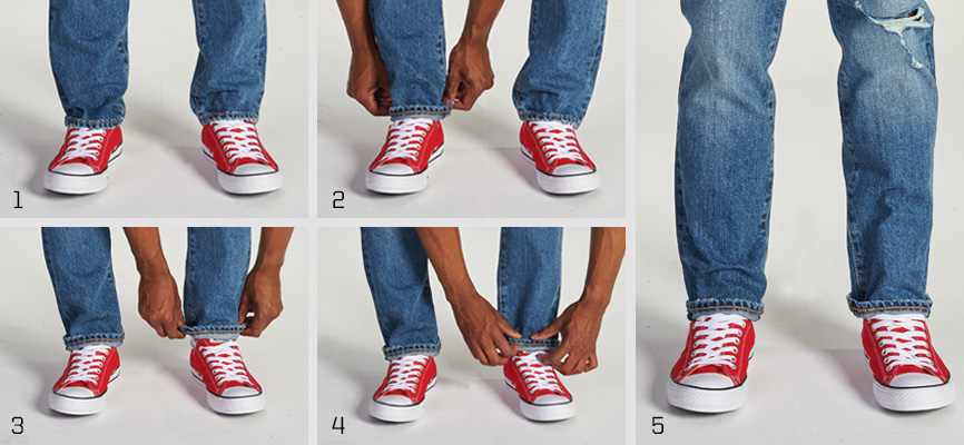 Skinny roll cuffed jeans paired with Converse All Star Ox sneakers  sneaker colors: bright red/white | canvas