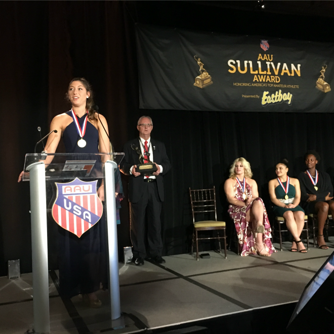 Standout Volleyball Player Named AAU Sullivan Award Winner, Edging Out Six World Champions