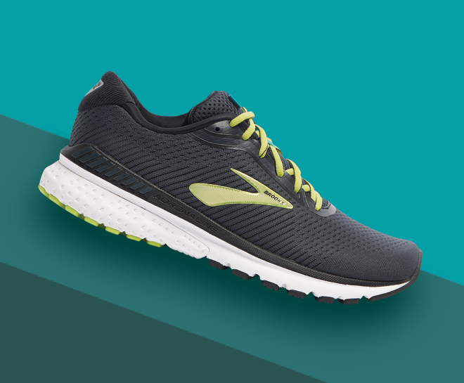 A single Men's Brooks Adrenaline GTS 20 shoe in the Black/Lime/Blue Grass colorway.