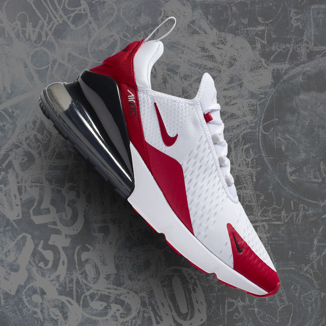 Men's Nike Air Max 270 -- White, University Red and Vast Grey