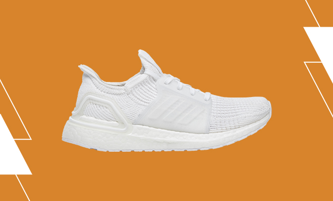 Women's adidas Ultraboost 19 in an all white colorway.