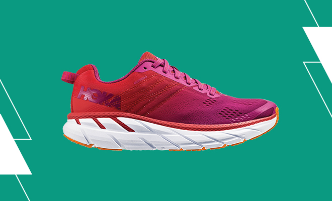 Women's HOKA ONE ONE Clifton 6 in the Poppy Red/Cactus Flower colorway.
