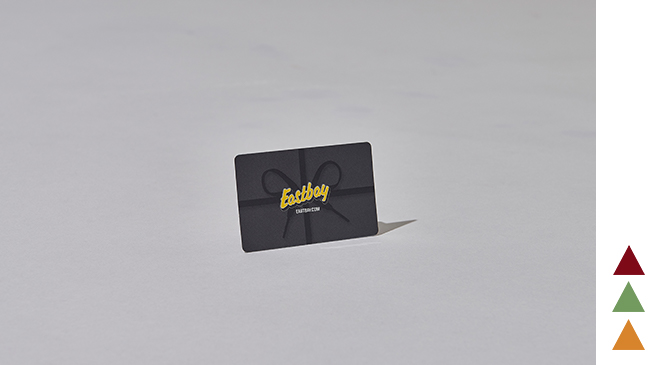 An eastbay holiday giftcard standing up