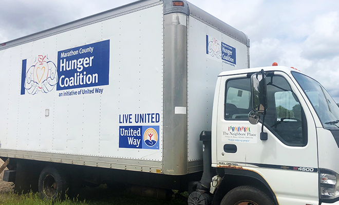 The Marathon County Hunger Coalition truck parked.