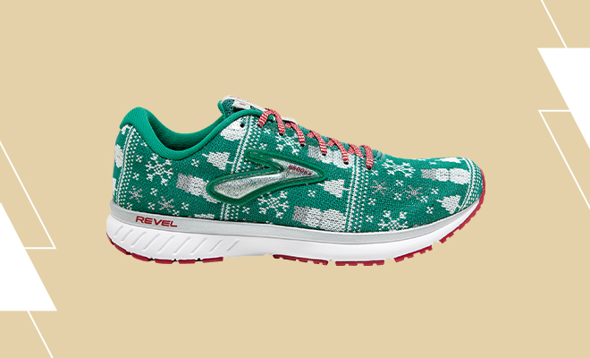 Men's Brooks Revel 3 running shoes in the Green, Red, Silver colorway.