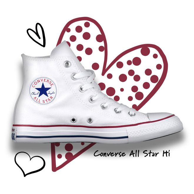 A White Converse All Star Hi Sneaker in the Optical White/White colorway with a polka-dotted heart in the background.
