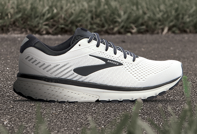 Men's Brooks Ghost 12 in the White/Grey/Black colorway.