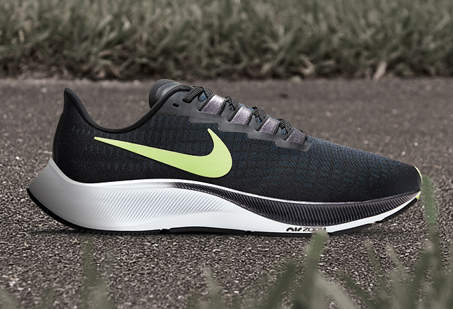 Men's Nike Air Zoom Pegasus 37 in the Black/Ghost Green/Valerian Blue colorway.