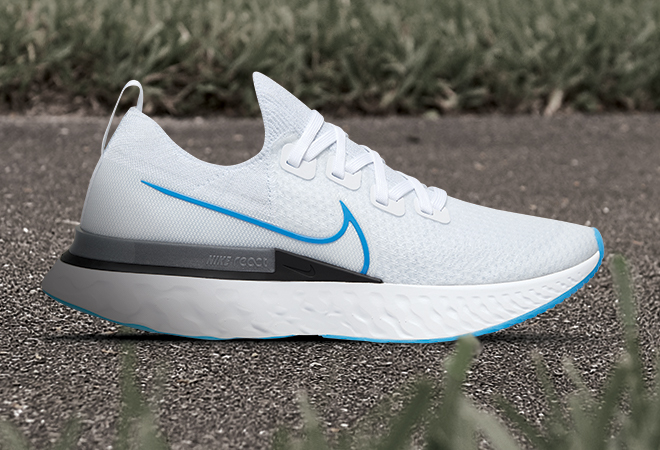 Men's Nike React Infinity Run Flyknit shoe in the True White/Photo Blue/White colorway.
